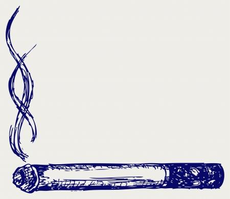 Burning cigarette. Doodle style