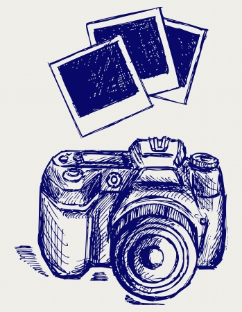 abstract scribble: ]camera illustration. Doodle style