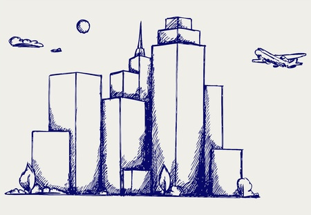 urban district: Panoramic city. Doodle style Illustration