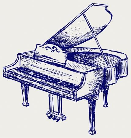 Piano. Doodle style Illustration