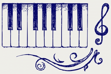acoustically: Piano. Doodle style Illustration