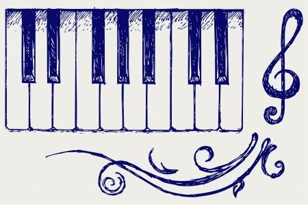 piano keys: Piano. Doodle style Illustration