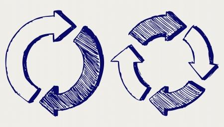 cíclico: Las flechas círculo. Estilo Doodle Vectores