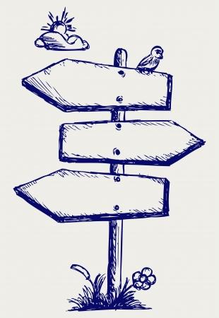 direction board: Wooden arrow board. Doodle style