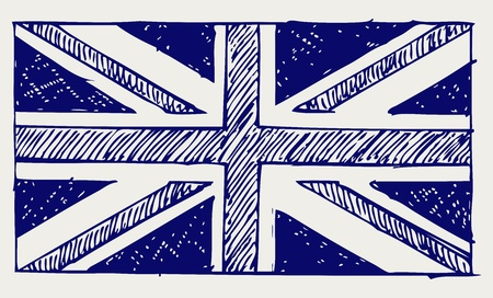 british flag: Flag of England. Doodle style