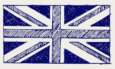 symbol british: Flag of England. Doodle style