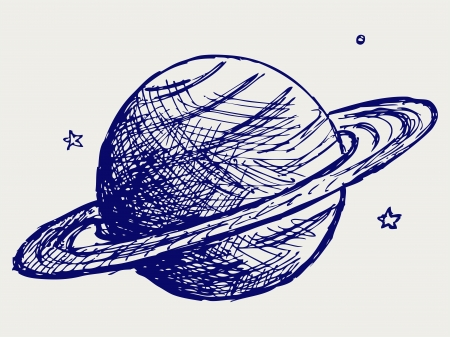 Planet Saturn. Doodle style