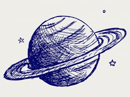 manuscrita: Planeta Saturno. Estilo Doodle