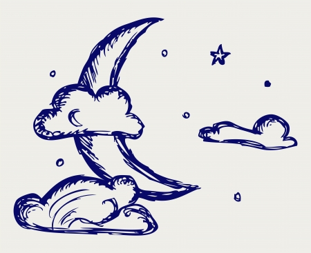 cloudy night sky: Evening crescent. Doodle style