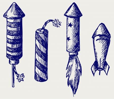 jahreswechsel: Fireworks. Doodle style Illustration
