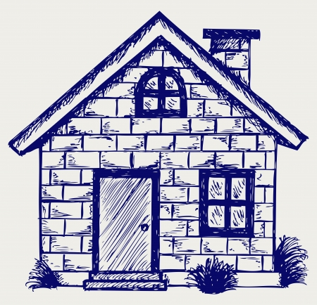 modern huis: Illustratie, huis. Doodle stijl