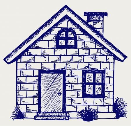 roof line: Ilustraci�n de casa. Estilo Doodle