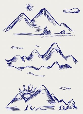 высокогорный: Различные высокие горные вершины. Doodle стиль