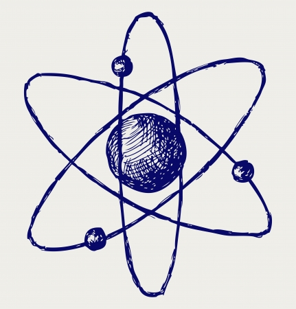 cartoon atom: Abstract atom. Doodle style