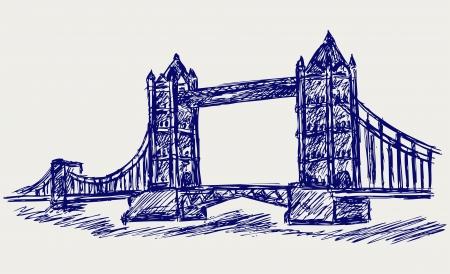 tower bridge: Tower Bridge. Doodle style Illustration