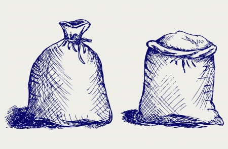 Bag flour. Doodle style Vector