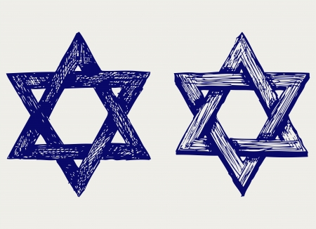 star of david: Judaic religion. Doodle style