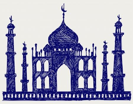 relegion: Taj-mahal temple silhouette. Doodle style