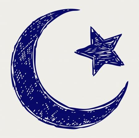 crescent moon: Crescent Islamic symbol. Doodle style Illustration