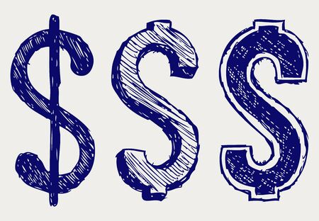 collapsing: Dollar sign. Doodle style