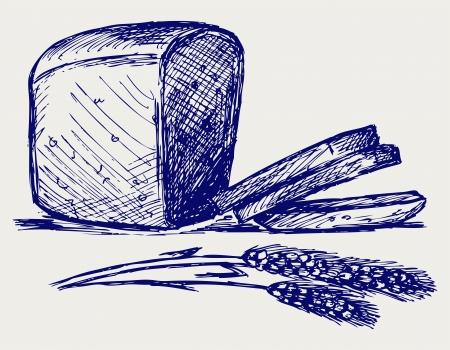 centeno: Pan de centeno. Estilo Doodle Vectores