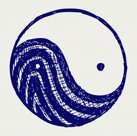 karma design: Ying yang sketch symbol Illustration