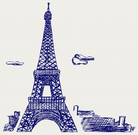 Eiffel Tower in Paris. Doodle style Vector