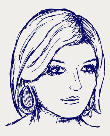 simple girl: Woman portrait. Doodle style