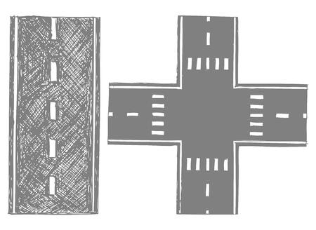 road ahead: Road  Doodle style Illustration
