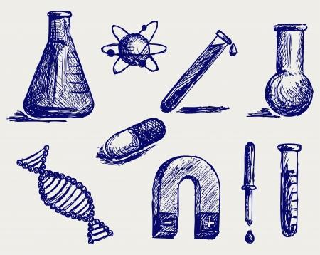 Biología, Química y Física Doodle estilo Ilustración de vector