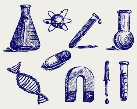 nuclear physics: Biology, chemistry and physics  Doodle style Illustration
