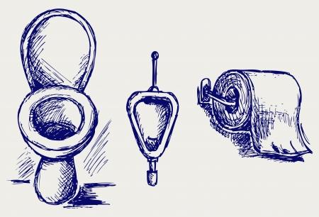 toilet paper art: Toilet  Doodle style Illustration