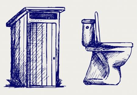 Toaleta Doodle styl Ilustracje wektorowe