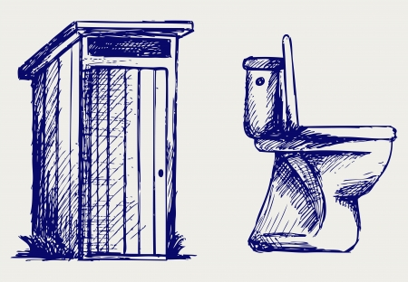 toilet bowl: Toilet  Doodle style Illustration