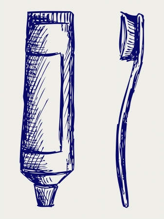 Toothbrush and toothpaste  Doodle style Vector