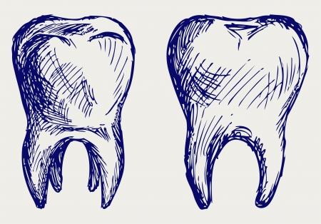 mal di denti: Dente stile Doodle Vettoriali
