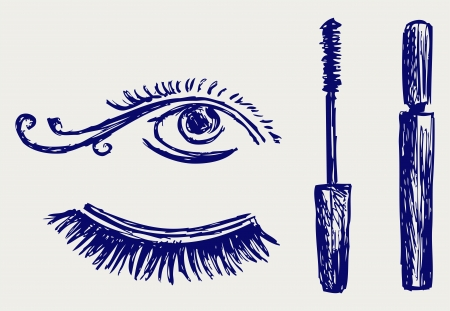 make up brush: Mascara  Doodle style