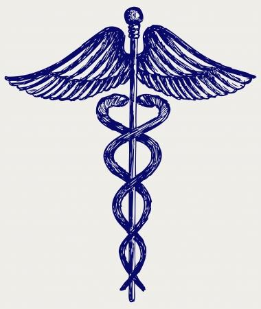 caduceus symbol: Medical sign  Doodle style Illustration