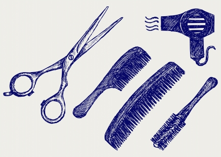 Scissors and Comb for hair  Doodle style Vector
