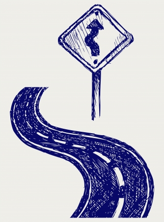 ways to go: Curve road  Sketch Illustration