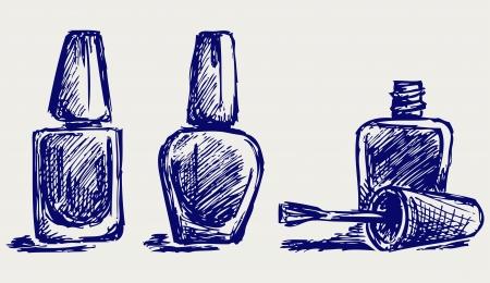 nail: Nail polish. Doodle style