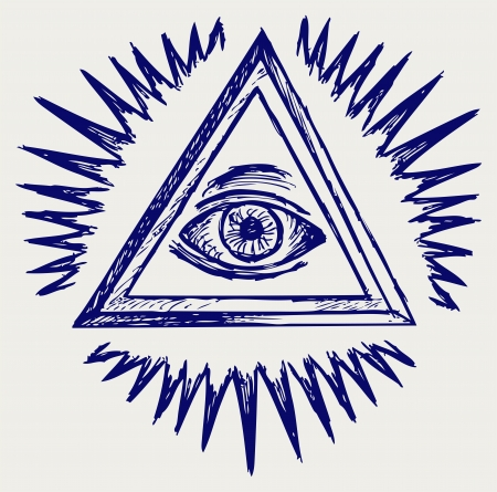 looking: All seeing eye. Doodle style Illustration