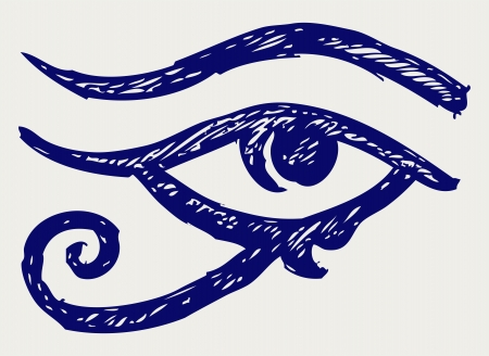 ojo de horus: All Seeing Eye. Estilo Doodle Vectores