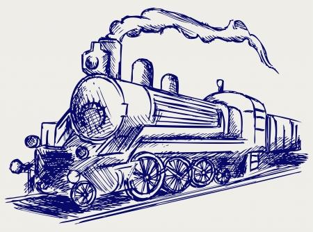 szynach: Pociąg parowy z dymem. Doodle styl