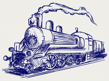 Steam train with smoke. Doodle style Vector