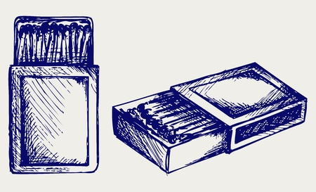 box of matches: Box of matches. Doodle style