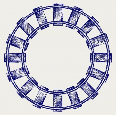 eisenbahn: Railroad. Doodle-Stil Illustration
