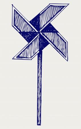 wiatrowskaz: Wiatrowskaz. Doodle styl