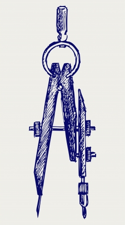 drafting tools: Compass. Doodle style