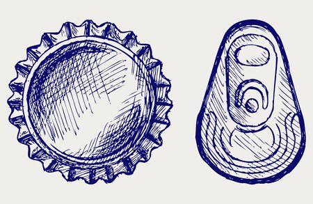 Bottle cap. Estilo Doodle